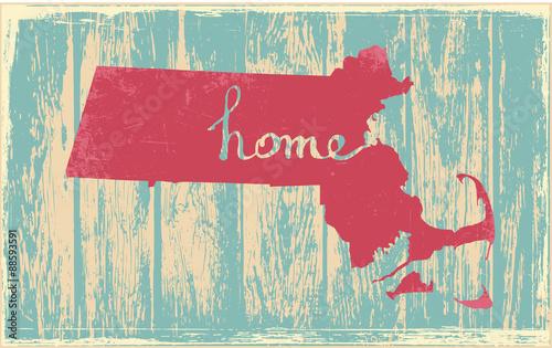Fotografie, Obraz  Massachusetts nostalgic rustic vintage state vector sign