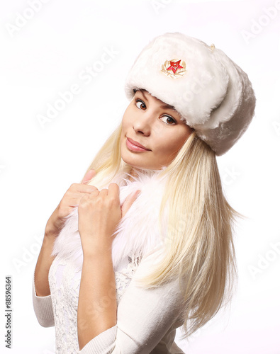 bc3f99abc Russian girl wearing military hat isolated on white - Buy this stock ...