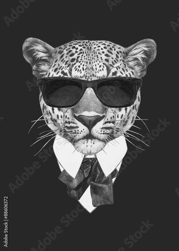 Portrait of Leopard in suit. Vector isolated elements. Wall mural