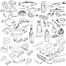 Meat,fish And Cheese, Food Set