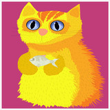 Cheerful yellow cat with a fish in his hands.Happy family of cat prepares fish for dinner.