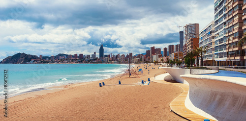 Beach in Benidrom, Costa Blanca, Spain in spring