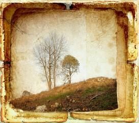 Obraz Vintage rural landscape on old paper