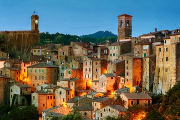Panel Szklany Toskania Sorano - tuff city in Tuscany. Italy