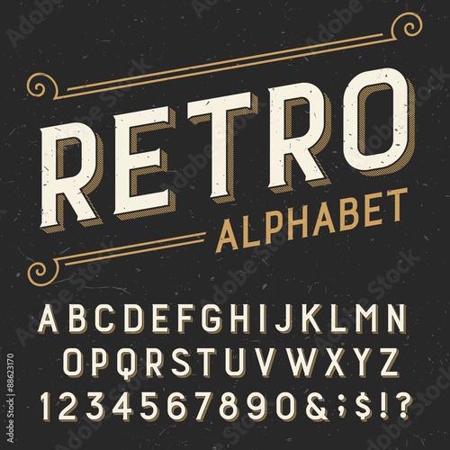 Fotografía  Retro alphabet vector font