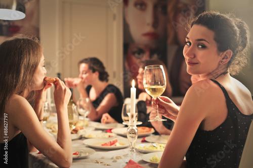 Fotografie, Obraz  Classy girl at an elegant dinner