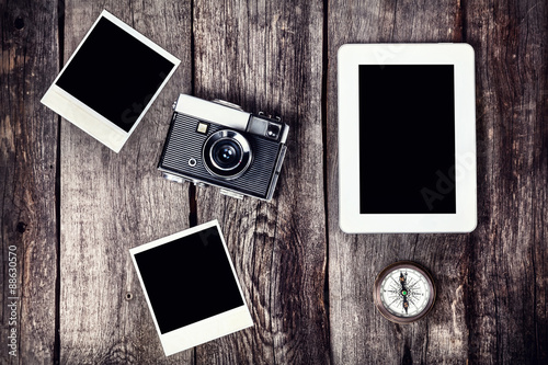 Photo  Camera, tablet and photos