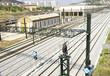 Vías y trenes en los talleres de La Maquinista en Barcelona