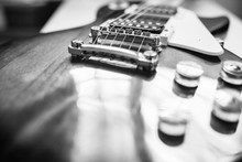 Black And White Electronic Guitar Isolated On White Background