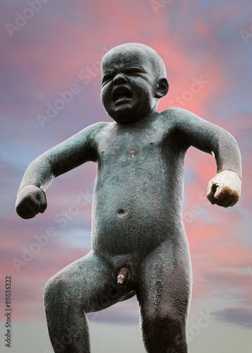 Sculpture in Vigeland park in Oslo city in Norway