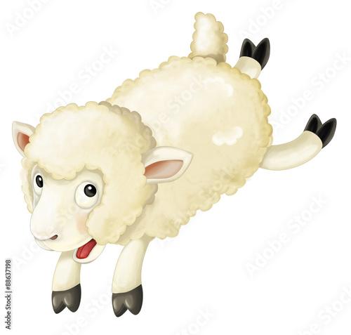 Fotobehang Boerderij Cartoon sheep - illustration for the children