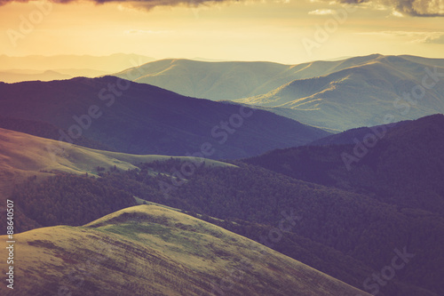 Acrylic Prints Hill Autumn mountain hills at sunset.