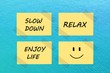 Tips for relaxation on yellow notes over blue sea background