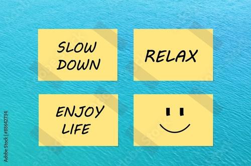 Fototapeta Tips for relaxation on yellow notes over blue sea background obraz na płótnie