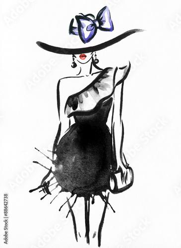 kobieta-portret-z-kapeluszem-abstract-akwarela-fashion-tlo