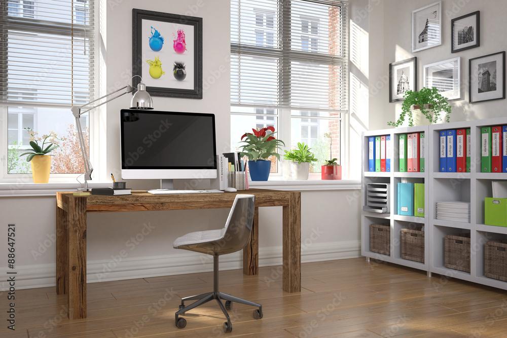 Schreibtisch Im Home Office Arbeitszimmer Foto Poster Wandbilder
