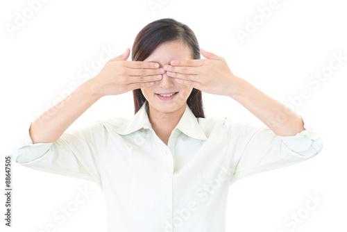 Fotografie, Obraz  目隠しをする女性