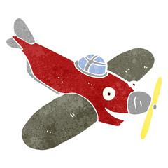 Naklejka Do pokoju młodzieżowego retro cartoon propeller plane