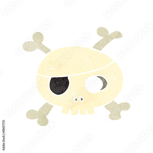 Printed kitchen splashbacks Watercolor skull retro cartoon skull with eye patch