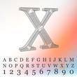 Vector illustration of letter background. Fonts of Mesh