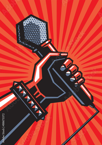 Rock poster with a microphone Canvas Print