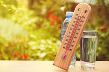 Thermometer On Summer Day Show...