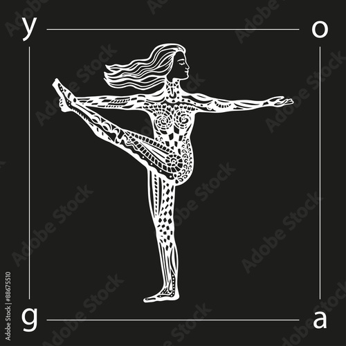 Vector Yoga Illustration In Zentangle Style Girl In Yoga Pose As Emblem For Yoga Studio Yoga Center Fitness Center Sport Magazine Also For Tattoo Hand Drawn Sketch In Doodle Style Buy