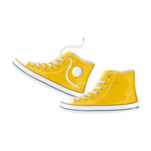 Yellow Sneakers Isolated