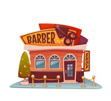 Barber shop building with bright banner. Vector illustration