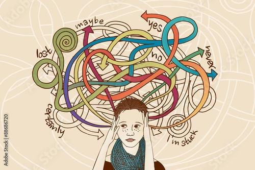 Photo Handgezeichnetes Portrait einer Frau der es schwer fällt, eine Entscheidung zu t