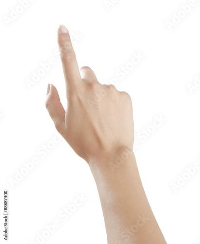 Foto  Frauenfinger zeigt nach oben