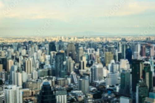 Staande foto Sydney Blurred cityscape skyline of Bangkok downtown, Thailand.