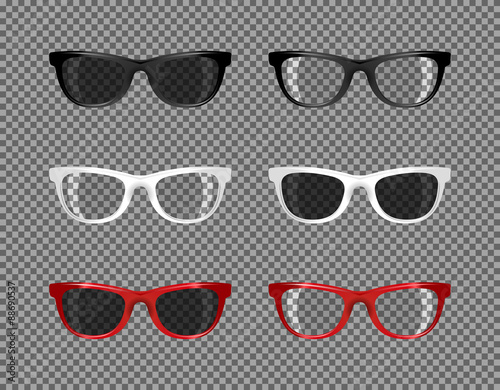stock set of sunglasses translucent for photomontage