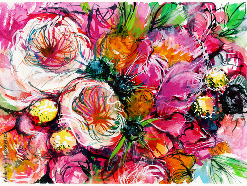 pink bouquet of flowers with two white buttercups / peony/ chamomile/ rose/ wate Canvas Print