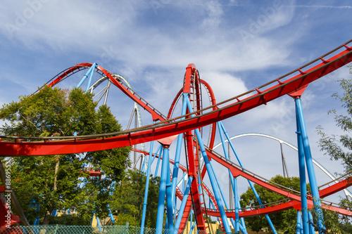 Papiers peints Attraction parc Roller Coaster in funny amusement park.
