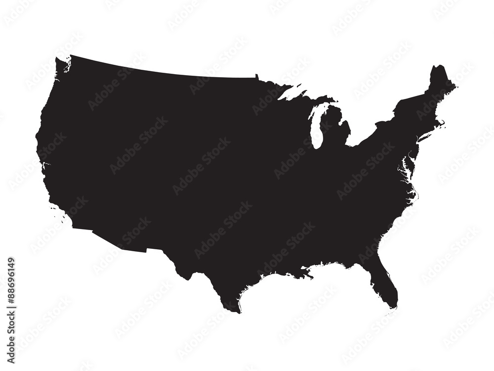 Fototapeta black map of United States