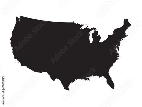 black map of United States - fototapety na wymiar