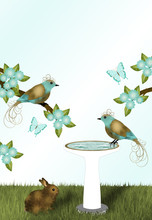 Gold And Teal Flowers, Birds A...