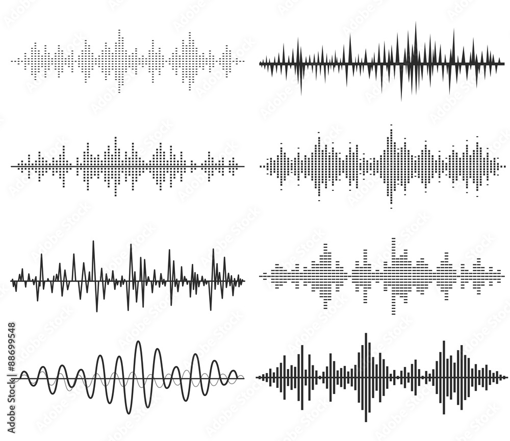 Photo  Black music sound waves. Audio technology, musical pulse.