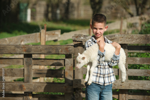 Obraz boy with lamb on the farm - fototapety do salonu