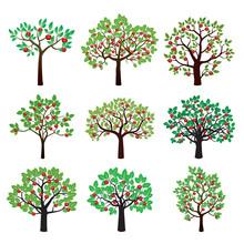 Set Of Color Apple Trees. Vector Illustration.