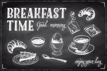 NaklejkaVector hand drawn breakfast and branch background on chalkboard.