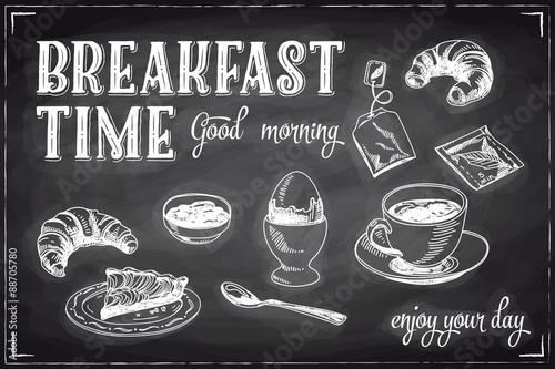 Fotografie, Obraz  Vector hand drawn breakfast and branch background on chalkboard.