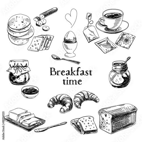 Photo  Vector breakfast hand drawn set. Vintage illustration.