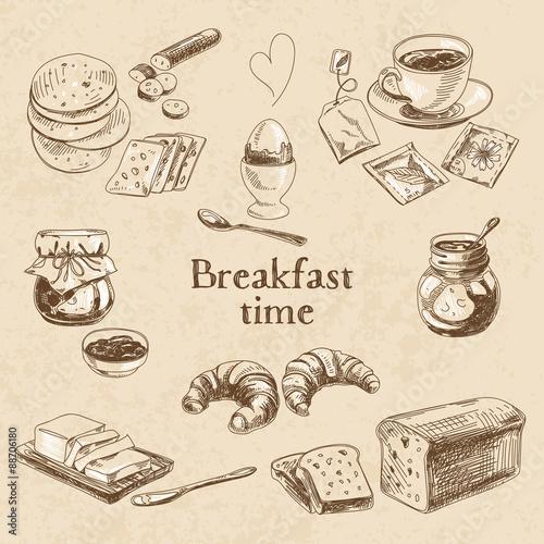 Fotografiet  Vector breakfast hand drawn set. Vintage illustration.