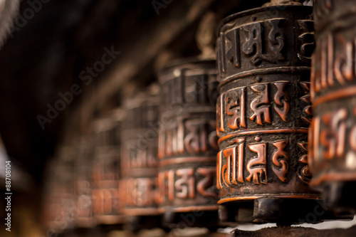 Fotografie, Obraz  Prayer wheels in Nepal
