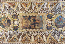 The Four Doors Room, A Magnificent And Detailed Coffered Ceiling With Intricate Stucco Work In Doge Palace.