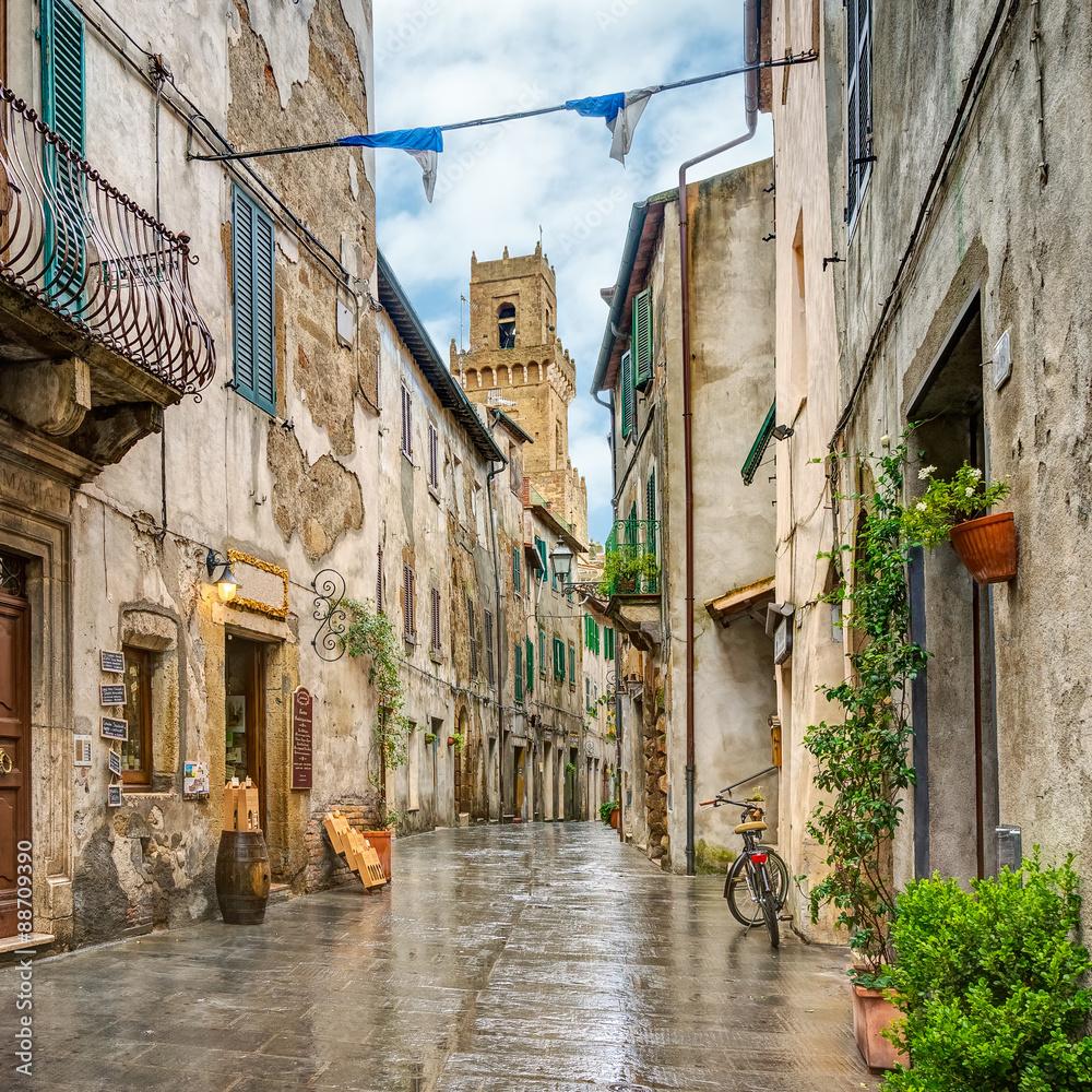 Fototapety, obrazy: Uliczka w zabytkowym miasteczku Pitigliano, Toskania, Włochy