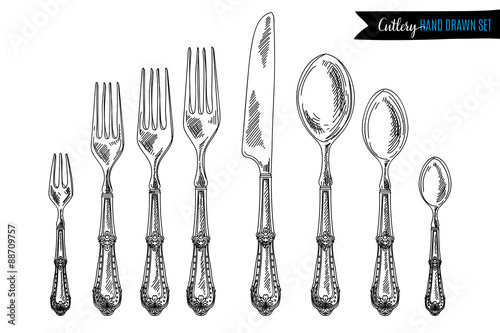 Fotografie, Obraz  Vector hand drawn illustration with cutlery set.