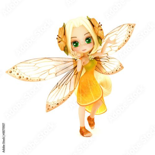 Naklejka premium Wróżka Cute toon ubrana w pomarańczową sukienkę kwiatową z kwiatami we włosach, pozowanie na białym tle na białym tle. Część małej serii wróżek.